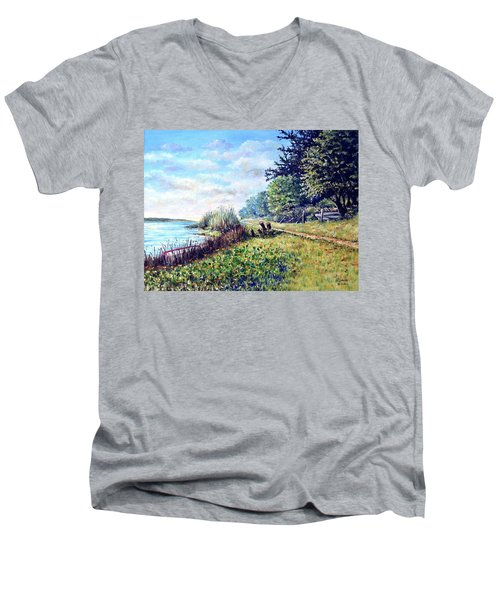 Men's V-Neck T-Shirt featuring the painting Tranquility by Heidi Kriel