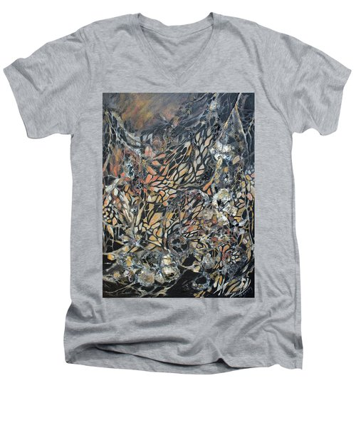 Men's V-Neck T-Shirt featuring the mixed media Transformation by Joanne Smoley