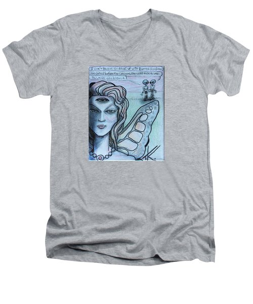 Men's V-Neck T-Shirt featuring the drawing Transformation by Similar Alien