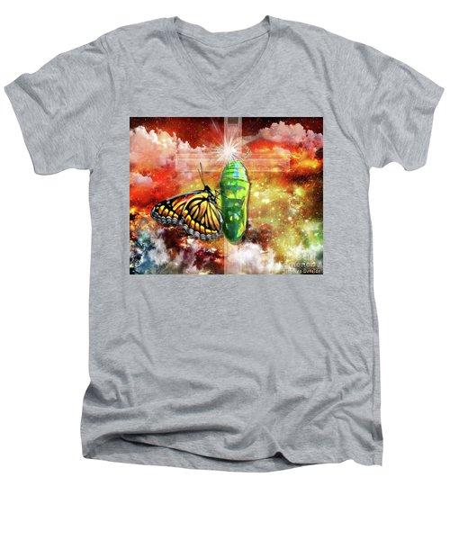 Men's V-Neck T-Shirt featuring the digital art Transformed By The Truth by Dolores Develde