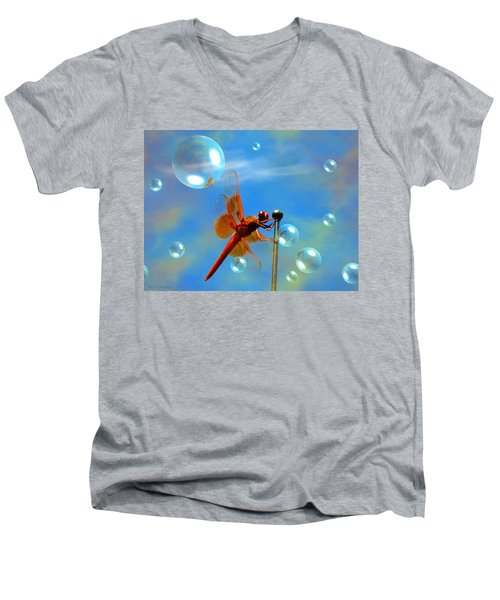 Transparent Red Dragonfly Men's V-Neck T-Shirt