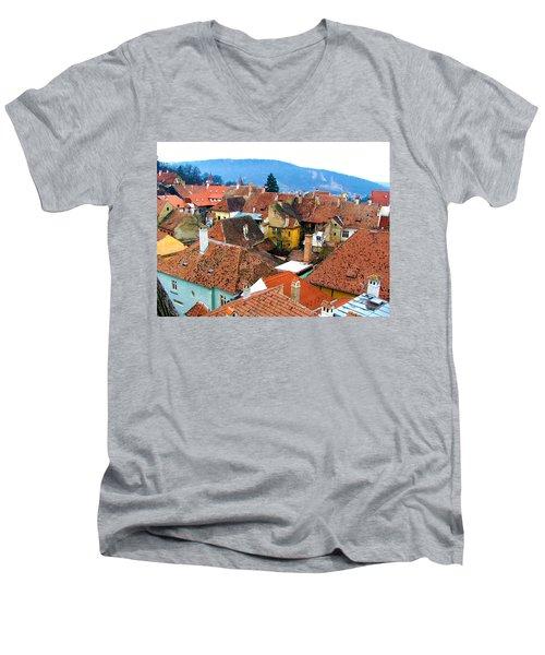 Transylvania Rooftops Men's V-Neck T-Shirt