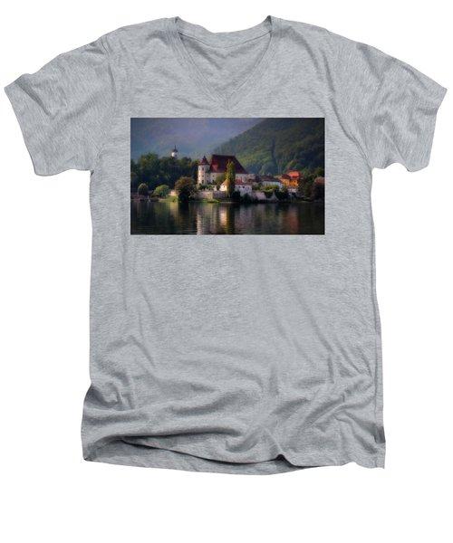 Men's V-Neck T-Shirt featuring the photograph Traunkirchen - Austria by Ellen Heaverlo
