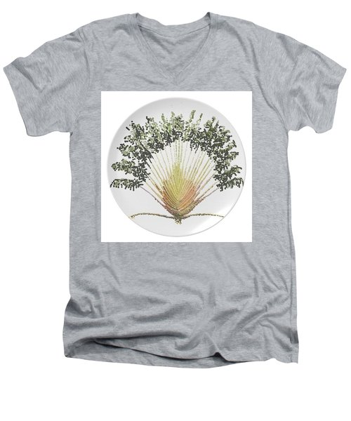 Men's V-Neck T-Shirt featuring the digital art Travelers Palm Plate by R  Allen Swezey