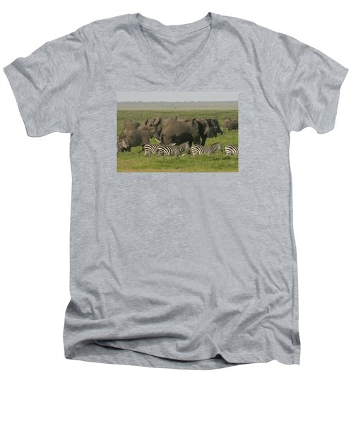 Men's V-Neck T-Shirt featuring the photograph Travelling Companions by Gary Hall
