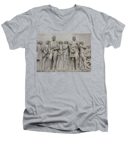 Travis And Crockett On Alamo Monument Men's V-Neck T-Shirt