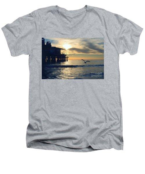Seagull Pier Sunrise Seascape C1 Men's V-Neck T-Shirt