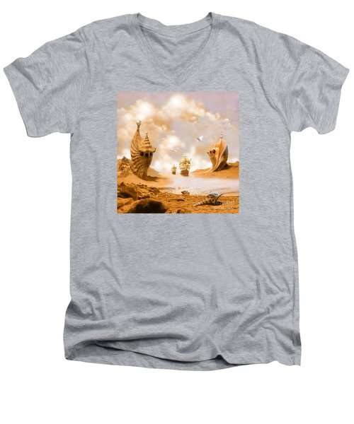 Men's V-Neck T-Shirt featuring the digital art Treasure Island by Alexa Szlavics