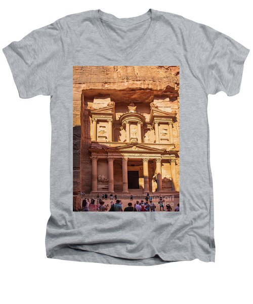 Men's V-Neck T-Shirt featuring the photograph Treasury Of Petra In Color by Mae Wertz