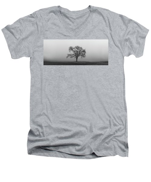 Tree Alone In The Fog Men's V-Neck T-Shirt