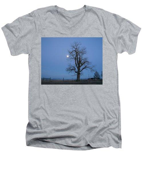 Tree And Moon Men's V-Neck T-Shirt