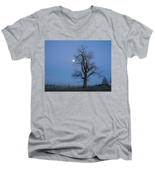 Tree And Moon Men's V-Neck T-Shirt