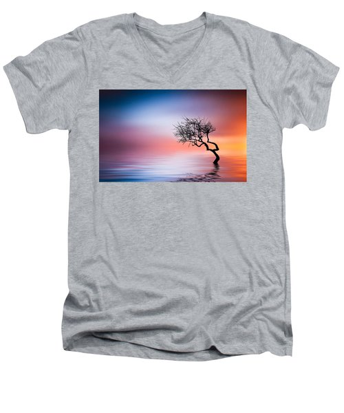Tree At Lake Men's V-Neck T-Shirt by Bess Hamiti