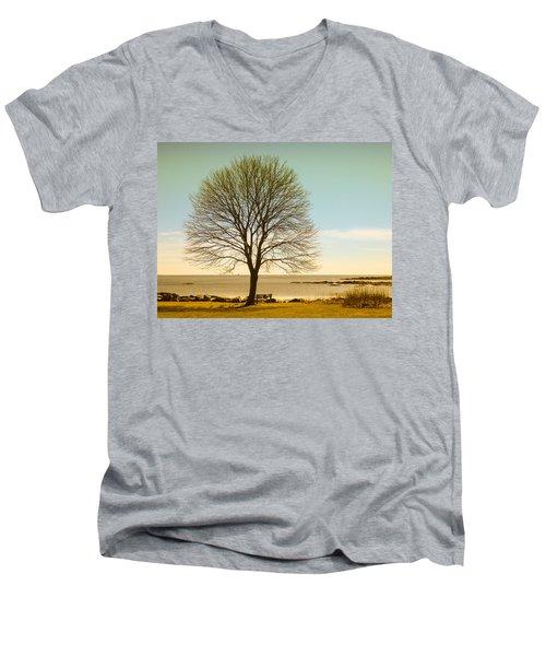 Tree At New Castle Common Men's V-Neck T-Shirt by Nancy De Flon