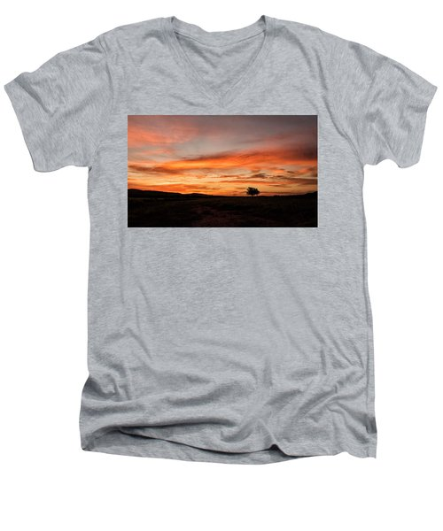 Tree At Sunrise Men's V-Neck T-Shirt