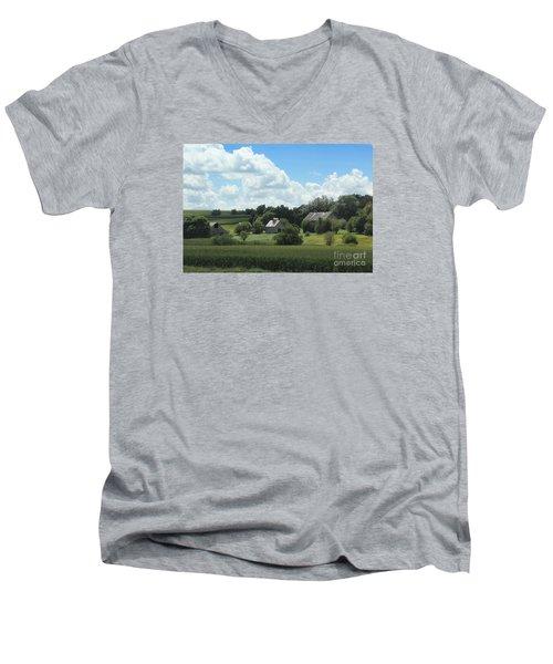 Men's V-Neck T-Shirt featuring the photograph Three Barns by Yumi Johnson