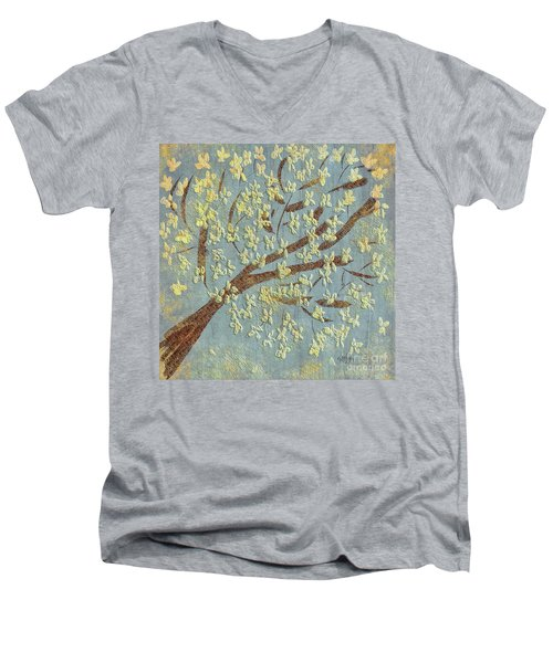 Men's V-Neck T-Shirt featuring the digital art Tree Blossoms by Lois Bryan