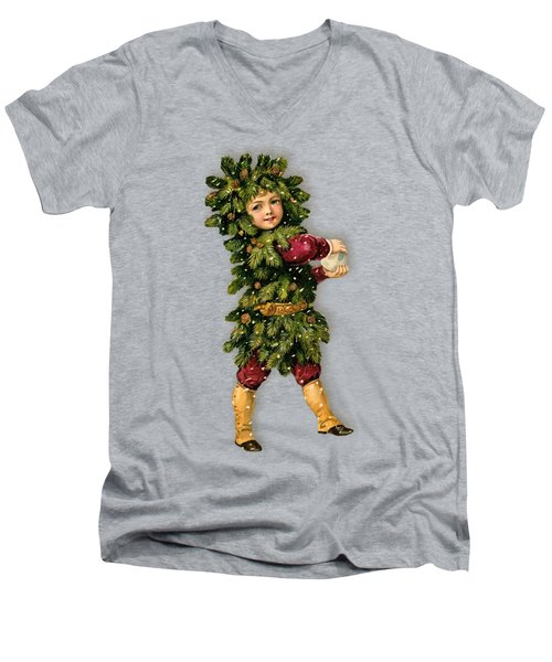 Tree Child Vintage Christmas Image Men's V-Neck T-Shirt by R Muirhead Art