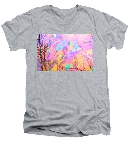 Men's V-Neck T-Shirt featuring the photograph Tree Dance by Kathy Bassett