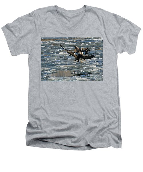 Tree Eagles On Ice Men's V-Neck T-Shirt