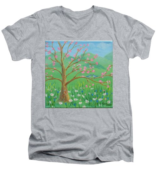 Men's V-Neck T-Shirt featuring the painting Tree For Two by Nancy Nale