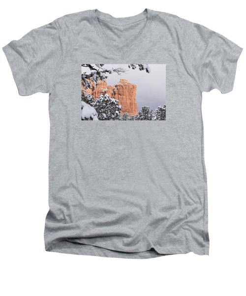 Men's V-Neck T-Shirt featuring the photograph Tree Hanging Over Coffee Pot by Laura Pratt