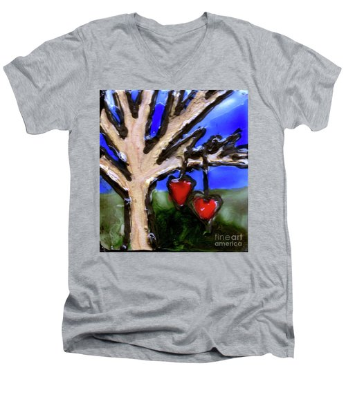 Men's V-Neck T-Shirt featuring the painting Tree Hearts by Genevieve Esson