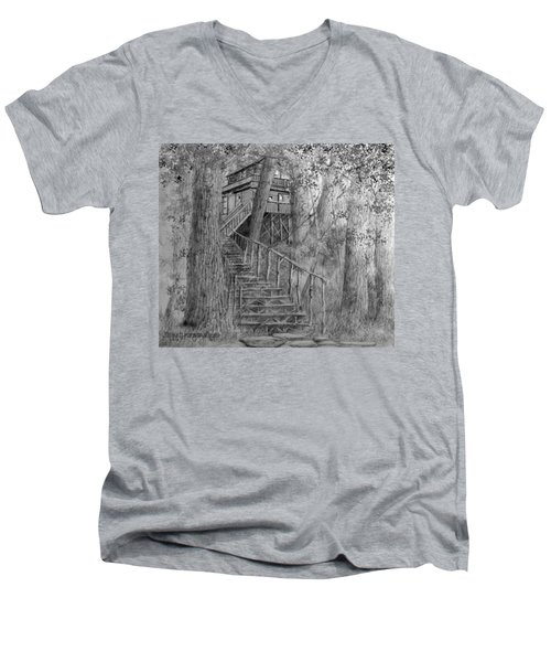 Men's V-Neck T-Shirt featuring the drawing Tree House #1 by Jim Hubbard