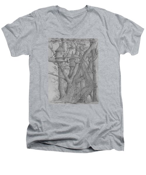 Men's V-Neck T-Shirt featuring the drawing Tree House #3 by Jim Hubbard