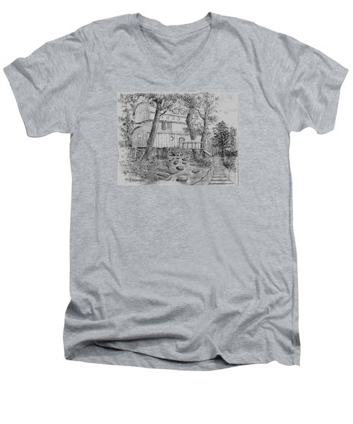 Men's V-Neck T-Shirt featuring the drawing Tree House #5 by Jim Hubbard