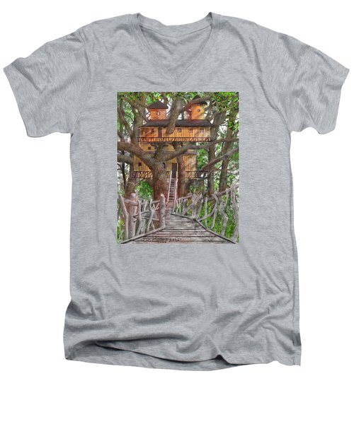 Men's V-Neck T-Shirt featuring the drawing Tree House #6 by Jim Hubbard