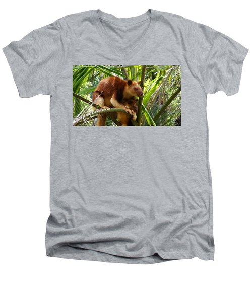 Tree Kangaroo 1 Men's V-Neck T-Shirt by Gary Crockett