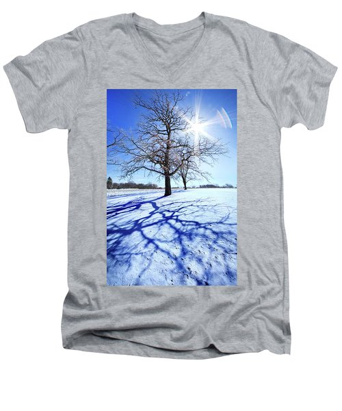 Men's V-Neck T-Shirt featuring the photograph Tree Light by Phil Koch