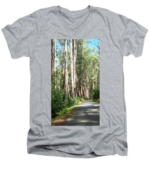 Tree Lined Mountain Road Men's V-Neck T-Shirt