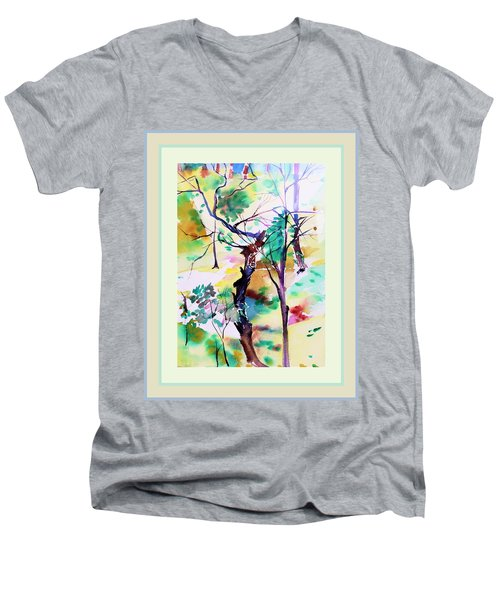 Men's V-Neck T-Shirt featuring the painting Tree Lovers by Mindy Newman
