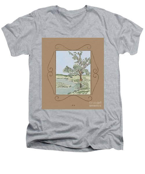 Tree Mirror In Lake Men's V-Neck T-Shirt