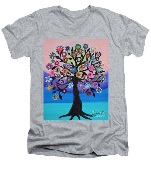 Blooming Tree Of Life Men's V-Neck T-Shirt