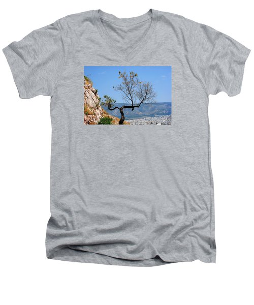 Tree On Acropolis Hill Men's V-Neck T-Shirt by Robert Moss