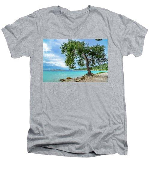 Tree On Northern Dalmatian Coast Beach, Croatia Men's V-Neck T-Shirt