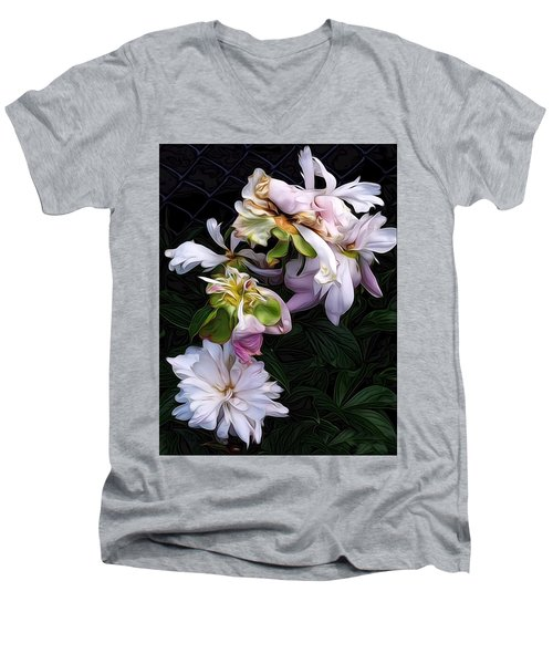 Men's V-Neck T-Shirt featuring the digital art Tree Peony by Alexis Rotella