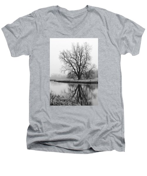 Tree Reflection In The Fox River On A Foggy Day Men's V-Neck T-Shirt