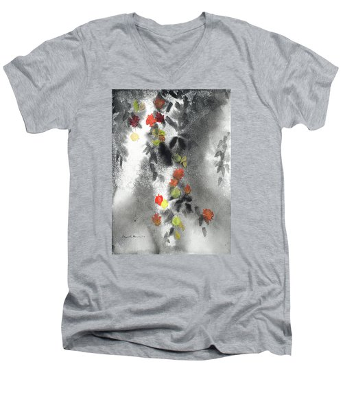 Tree Shadows And Fall Leaves Men's V-Neck T-Shirt