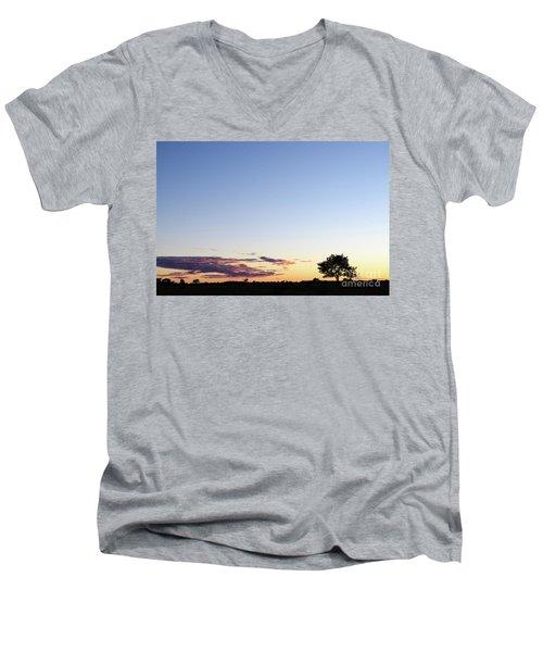 Tree Silhouette By Twilight Men's V-Neck T-Shirt by Kennerth and Birgitta Kullman