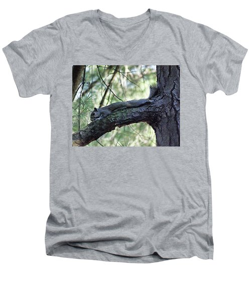 Men's V-Neck T-Shirt featuring the photograph  Tree Squirrel by B Wayne Mullins