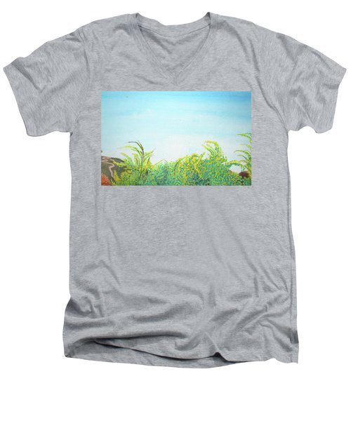 Tree Tops Men's V-Neck T-Shirt by Mary Ellen Frazee