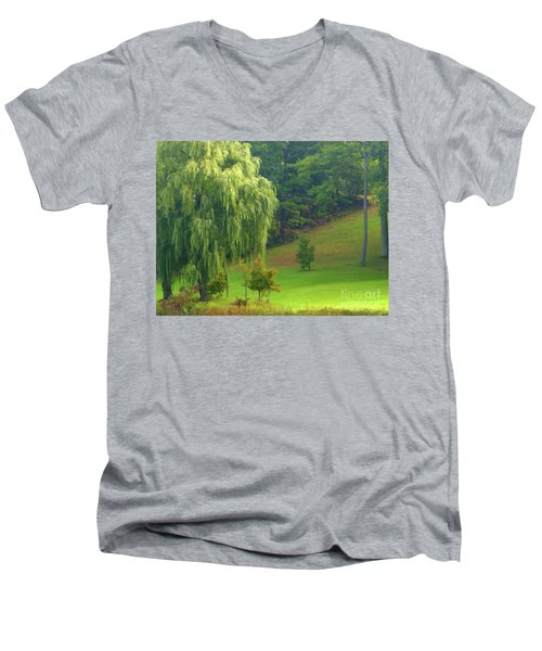 Men's V-Neck T-Shirt featuring the photograph Trees Along Hill by Rockin Docks Deluxephotos