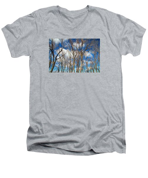 Men's V-Neck T-Shirt featuring the photograph Trees And Clouds by Valentino Visentini