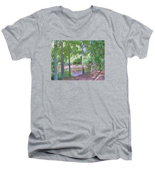 Men's V-Neck T-Shirt featuring the photograph Trees At Rivers Edge by Shirley Moravec