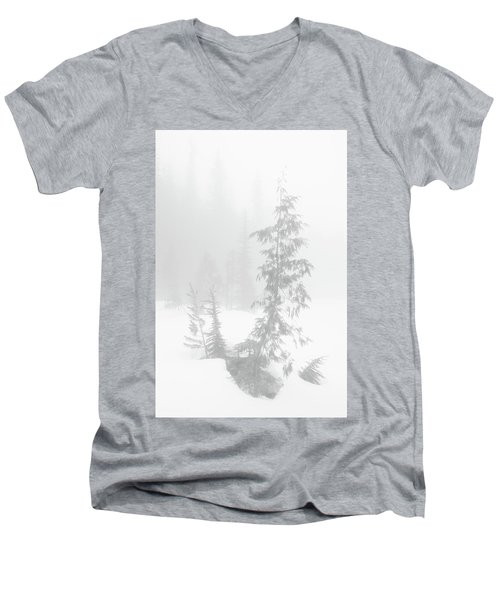 Trees In Fog Monochrome Men's V-Neck T-Shirt