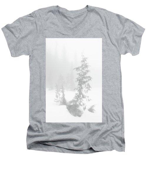 Trees In Fog Monochrome Men's V-Neck T-Shirt